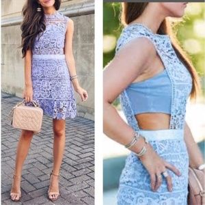 Goodnight Macaroon Lilac Floral Lace Dress M
